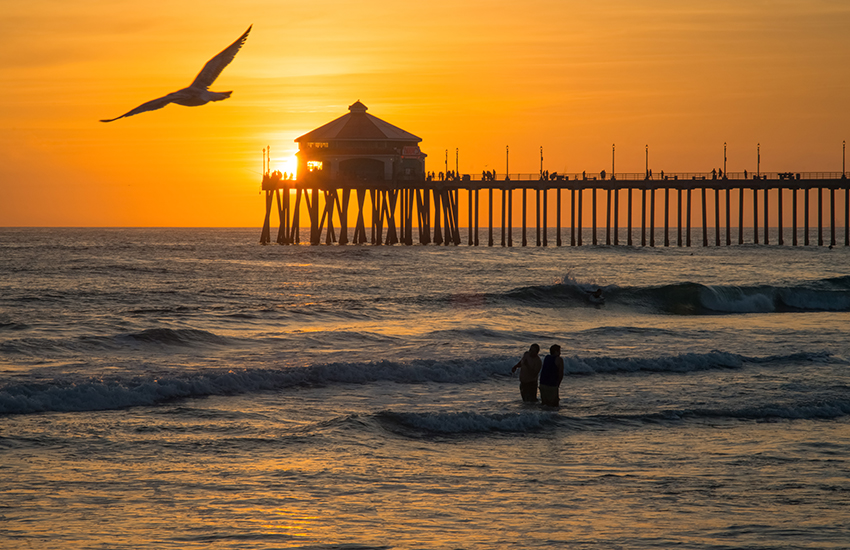 Family beach vacation in winter to visit is Huntington Beach, California
